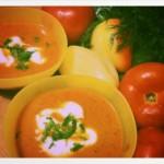Supa crema de rosii si legume rumenite in cuptor