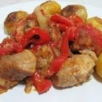 Friptura de porc cu ghimbir si garnitura de cartofi noi