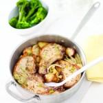 Porc la cuptor cu fenicul, cartofi cu lamaie si ceapa